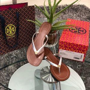TORY BURCH TERRA THONG SILVER thong sandals NWT